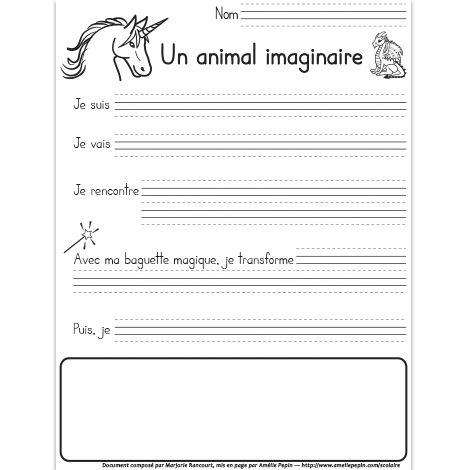 Fichier PDF téléchargeable En noir et blanc 1 page  Voici un exercice d'écriture pour 1re année ayant pour sujet un animal imaginaire.