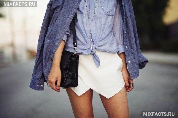 белая юбка-оригами и джинсовая куртка