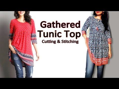 Gathered Tunic Top | Trendy Tunic Top / Short Kurti | Latest Top Designs - YouTube
