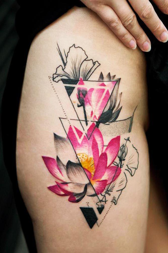 53 Best Lotus Flower Tattoo Ideas To Express Yourself Geometric Tattoo Geometric Flower Tattoo Flower Tattoo