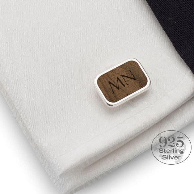 Herrenschmuck - Personalisierte Manschettenknöpfe   Walnut - ein Designerstück von ZaNa-Design bei DaWanda