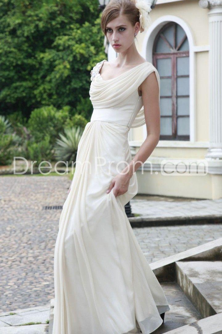Fantastic A-Line Drapped-Neckline Brush Train Evening/Prom Dresses