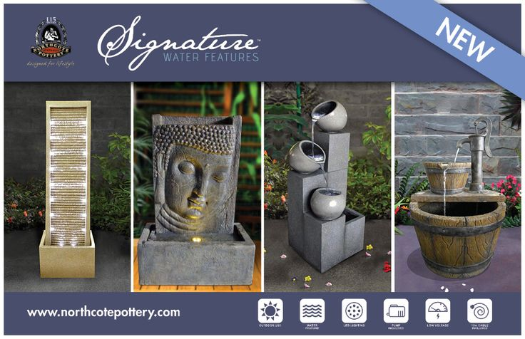 Still having trouble finding the perfect water feature? We are in love with our new Signature designs! These water features are stylish, low voltage, easy to assemble and come complete with a pump, cable and LED lights so they sparkle at night! And there's a design to suit every taste! http://www.northcotepottery.com/fountains/signature