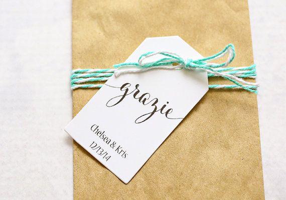 Wedding Favor Tag  Grazie Thank You in Italian Bridal by iDoTags