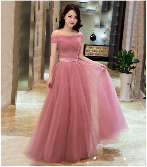 Rosa Tüll Formale Abendkleid Schulterfrei Lace-up-Bateau Hals Einfache Günstige Prom Party Kleid von better4u