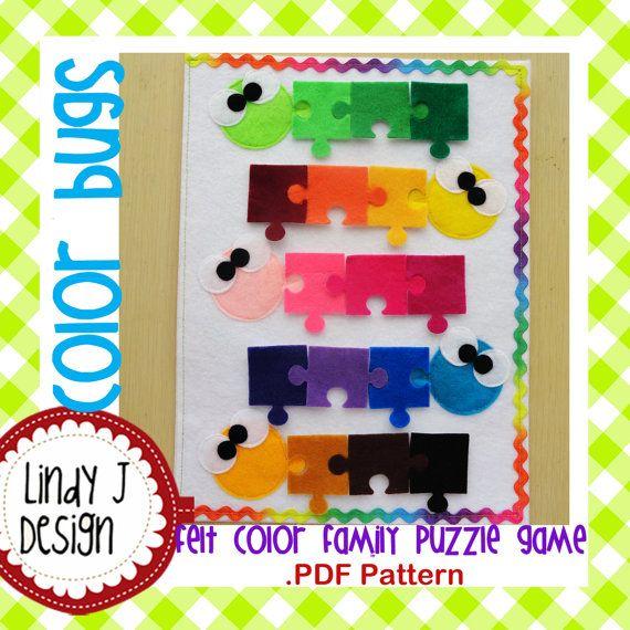 Color Bugs Felt Color Family Puzzle Game .PDF от LindyJDesign