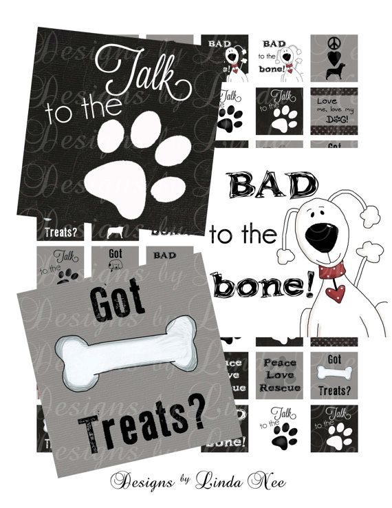 Instant Download Dogs Rule 1 x 1 inch by DesignsbyLindaNee on Etsy, $3.95