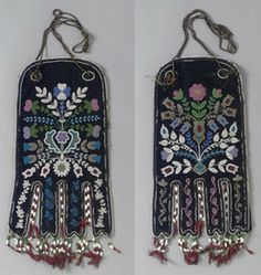 A James Bay Cree beaded cloth octopus bag, composed of hide, wool and cotton cloth, glass beads, cotton and silk thread, decorated with floral motifs on each side.