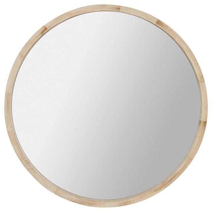Miroir rond avec cadre en bois naturel miroirs d cor mural for Miroir rond cadre bois