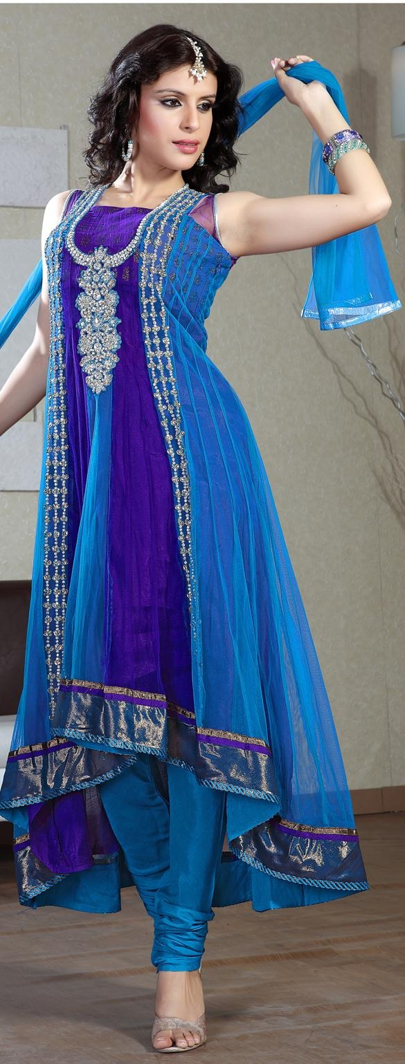 $167.55 Blue and Navy Blue Net Anarkali Suit 16625