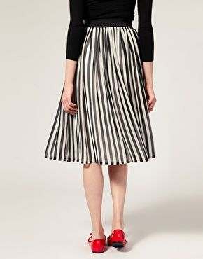 ASOS Stripe Midi Skirt - it has proven to be impossible for me to find a pleated skirt this length that is affordable and that I LIKE. I'm so mad this is sold out.