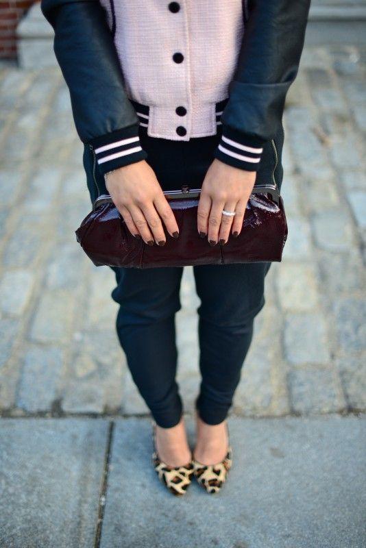 Forever 21 pink tweed varsity letterman jacket, H &M black zipper sweatpants, BCBG calf hair leopard pump, Hobo patent leather burgundy clutch, eyelikefashion, spring sporty trend fashion.