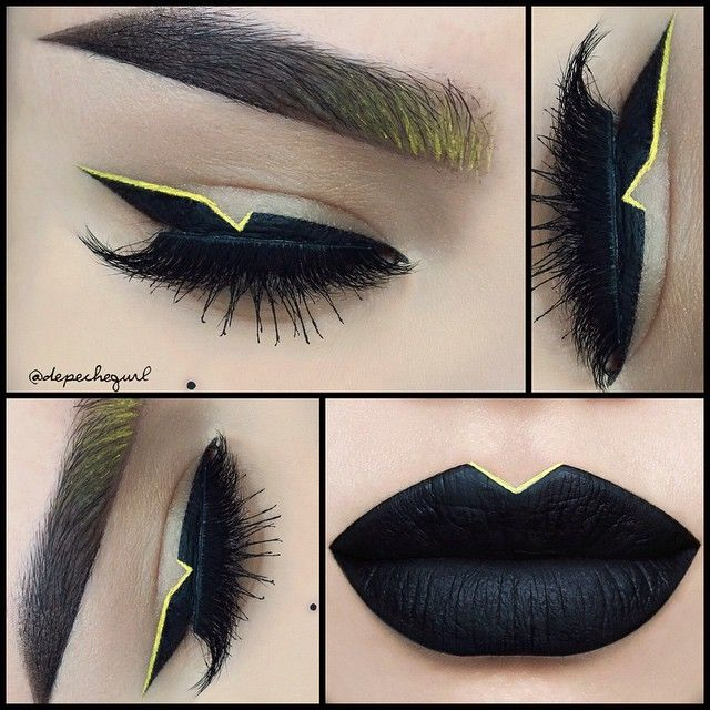 ⚡️Batman Inspired Look ⚠️ Lips - @lasplashcosmetics Venom Lip Couture and @inglot_usa Yellow Gel Liner #84. I used the lip brush set by @karlacosmetics ⚠️ Liner is @nyxcosmetics new Matte Liquid Liner and is inspired by @thekatvond Triangular Graphic Liner. I made it a double wing liner with the @inglot_usa #84 Gel Liner. @lashesbylena Tina Mink Lashes from the new Pin Up Girl Collection. I also used the @karlacosmetics brush set for my brows and the yellow liner⚡️