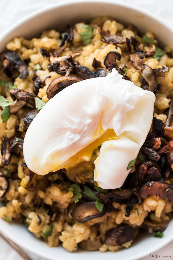 Mushroom Risotto with a Poached Egg