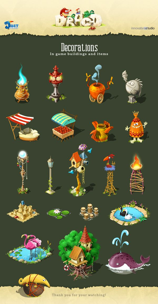 Decorations: In game buildings and items by Just Games, via Behance