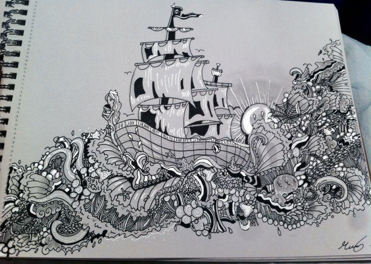 Zantagle drawing of a ship
