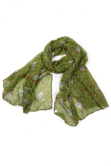 Green Trendy Womens Voile Bird Printed Floral Scarf http://pinkqueen.com/Green-Trendy-Womens-Voile-Bird-Printed-Floral-Scarf-g39184