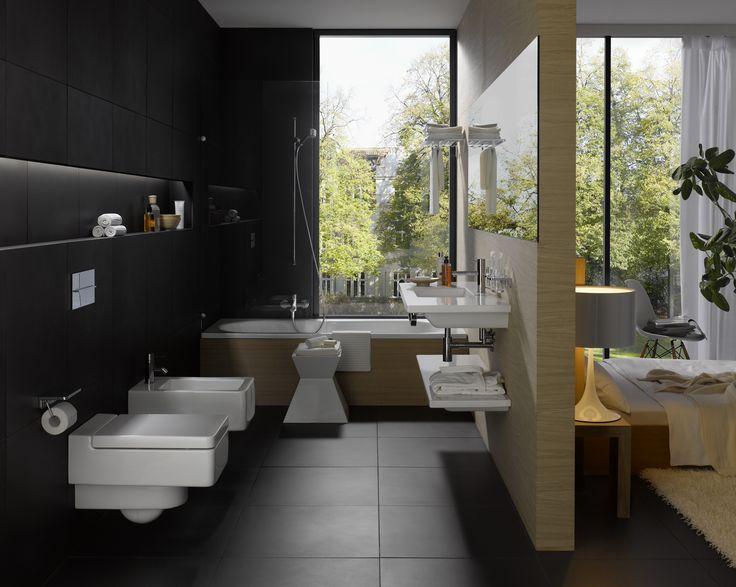 Classic Bathroom Interior Design With Black Wall Paint Color And Wall Mounted Mirror Also Double White