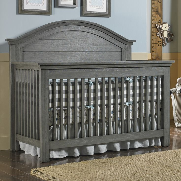 Dolce Babi Lucca Full Panel Convertible Crib in Weathered Grey #gray #graycrib #greycrib
