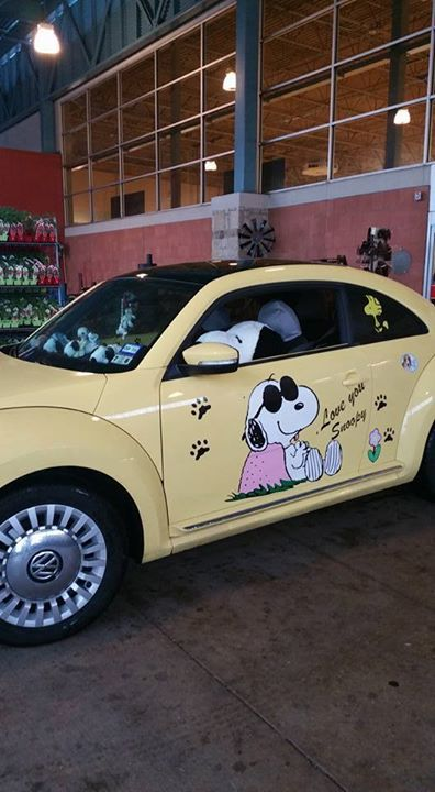 CollectPeanuts.com on Facebook - Cool Wheels Snoopy! Della shares her VW Bug decorated with Peanuts decals.  How do you share your love of Snoopy and Peanuts? Post photos of your fandom on the CollectPeanuts.com Facebook page.