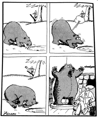 whenever I hear of another big game hunter 'bravely' shooting a wild animal I think of this perfect Far Side cartoon