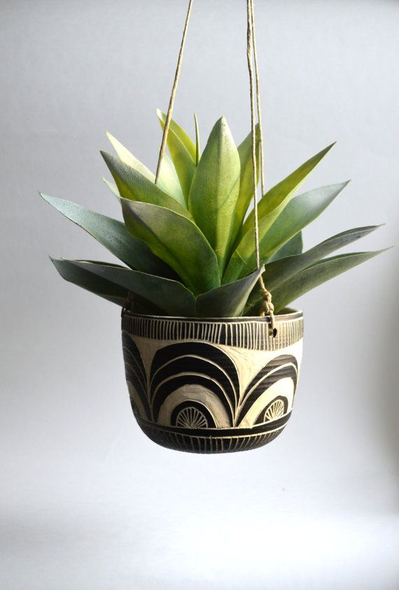 S C A L L O P  tribal ceramic hanging planter by mbundy on Etsy