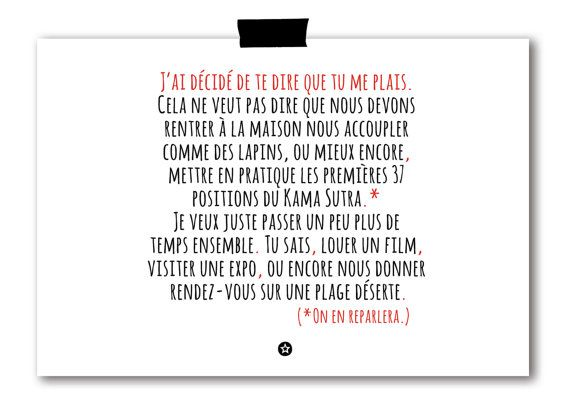 """Card in French """"J'ai décidé de te dire que tu me plais"""" by lifeonmars*  Available at www.etsy.com/shop/lifeonmarsdesign"""