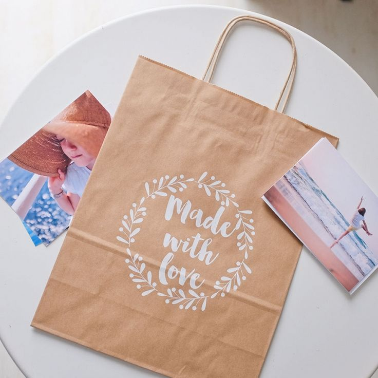 "Small bag ""Love"" brown #love #paper bag #paperbag #packaging"