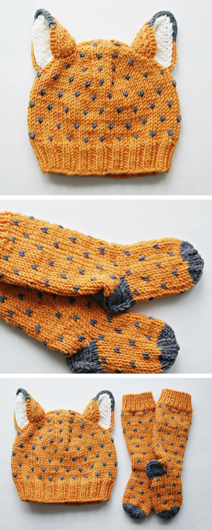 Gestrickte Winterkleidung für Babys: Mütze und Socken im Fuchs Design, Babykleidung / cute baby fashion for the winter season: baby beanie and socks with fox design made by Regenbogenlaune via DaWanda.com