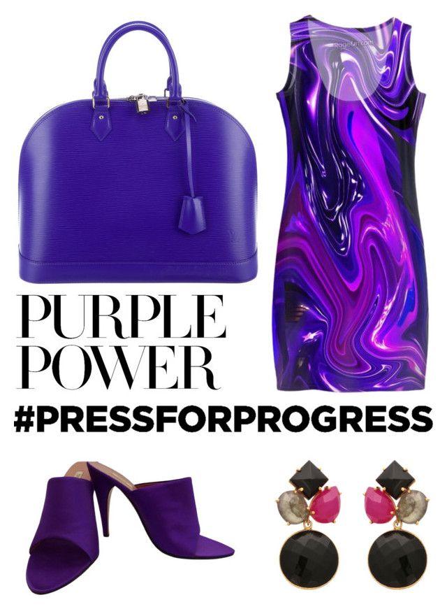 """purple power"" by aqualyra ❤ liked on Polyvore featuring Louis Vuitton, Prada, purplepower, internationalwomensday and pressforprogress"