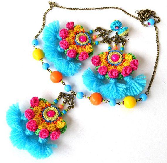 Pom Earrings Colorful Festival Mexican Fringe
