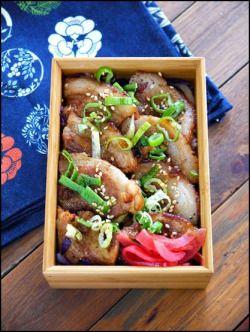 Pork Green Onion #Bento 葱塩豚バラ丼弁当