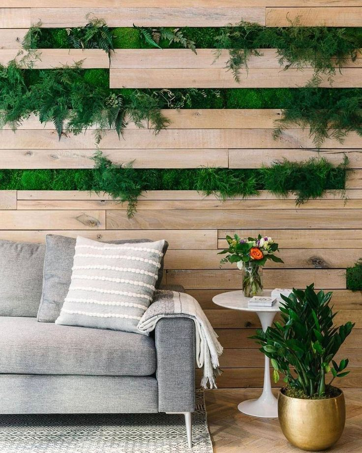 Keeping it fresh with wall greenery and timber panelling.