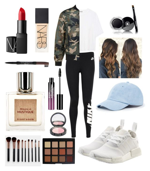 Untitled #15 by adekoooo on Polyvore featuring polyvore fashion style Vince NIKE Sole Society adidas Originals Nude by Nature Morphe NARS Cosmetics Chanel Charlotte Russe NYX Eight & Bob clothing