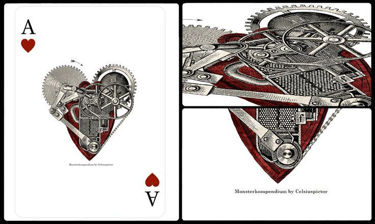 As de coeur pour le jeu de cartes de mon projet de collage Monsterkompendium. Je suis a la recherche d´un editeur http://monsterkompendium.tumblr.com/