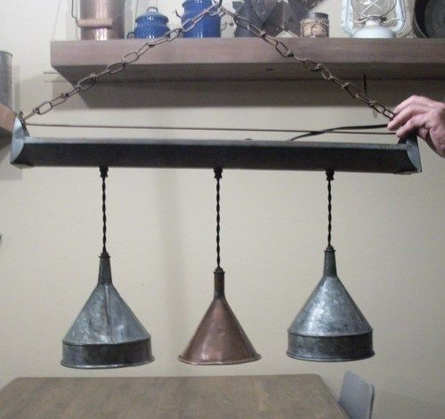 Antique Funnel Feeder Chandelier Light Fixture Copper