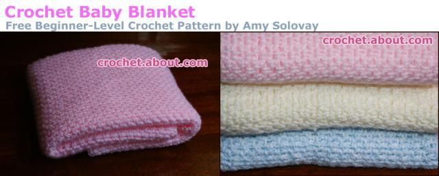 This fast, easy baby blanket features a simple design crocheted in alternating single crochet and chain stitches. Get the free crochet pattern here!