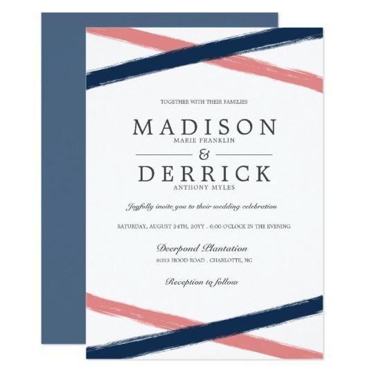 Brush Strokes Wedding Invitations | Navy Coral | Zazzle.com