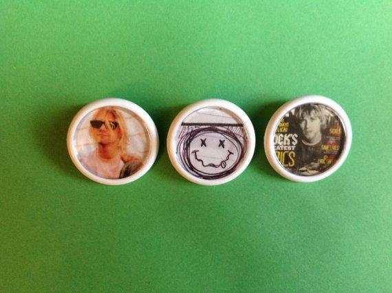 NIRVANA Kurt Cobain button badges Set of 3 Unique by FuNkTjUnK
