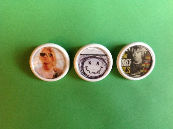NIRVANA Kurt Cobain button badges Set of 3 Unique by FuNkTjUnK