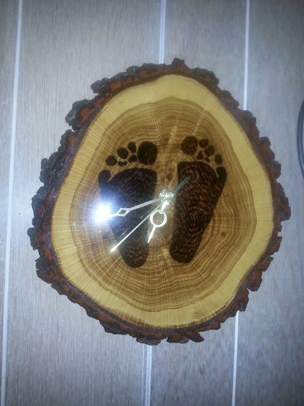 wood burned foot print clock
