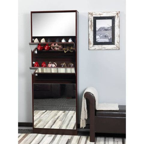 Mirrored Shoe Cabinet - Double Capacity