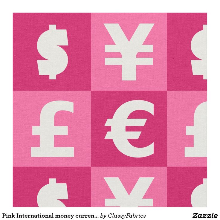 Pink International money currencies signs pattern Fabric
