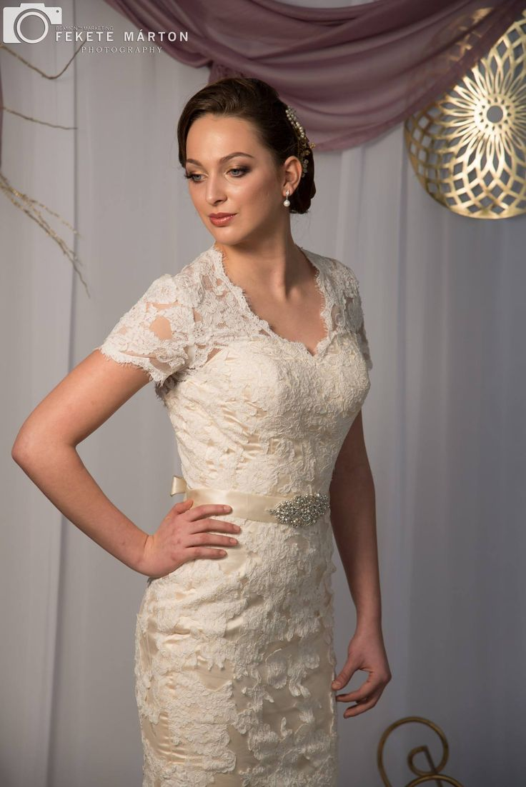 New wedding dress trend! Nude wedding dress with ivory overlay.