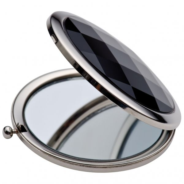 Luxury make-up mirror with a black decoration stone Compact mirror with black finish and a press button. Magnifying and a standard mirror, packed in a black gift box and a velour bag. Matching handbag hook p129 (Art 77868)   Product size 0,9 x 7 Branding size 3cm