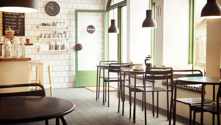 Cafe style kitchen/dining area?  (A small café with grey tables and chairs)
