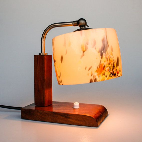 Vintage Table Lamp / Bedside Lamp / Art Deco Era Lighting / Blue, Orange,