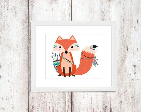 Fox de la pared arte Fox vivero niños pared arte por KuyenFox
