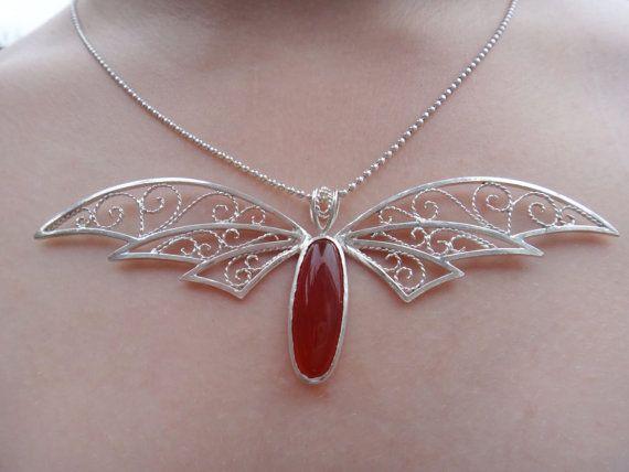 Carnelian Flight - Sterling silver filigree wing necklace w/ Carnelian gemstone