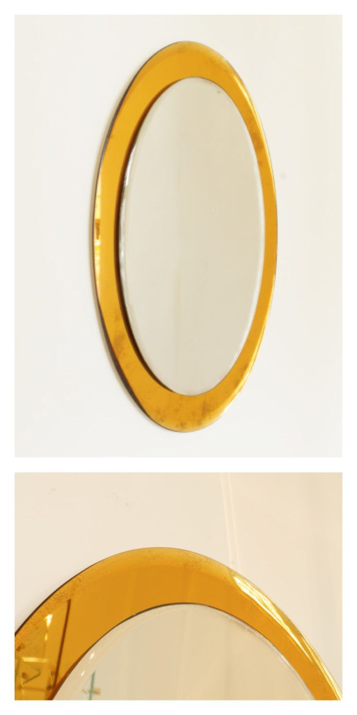 Italian oval mirror with gold glass border, c.1960s.